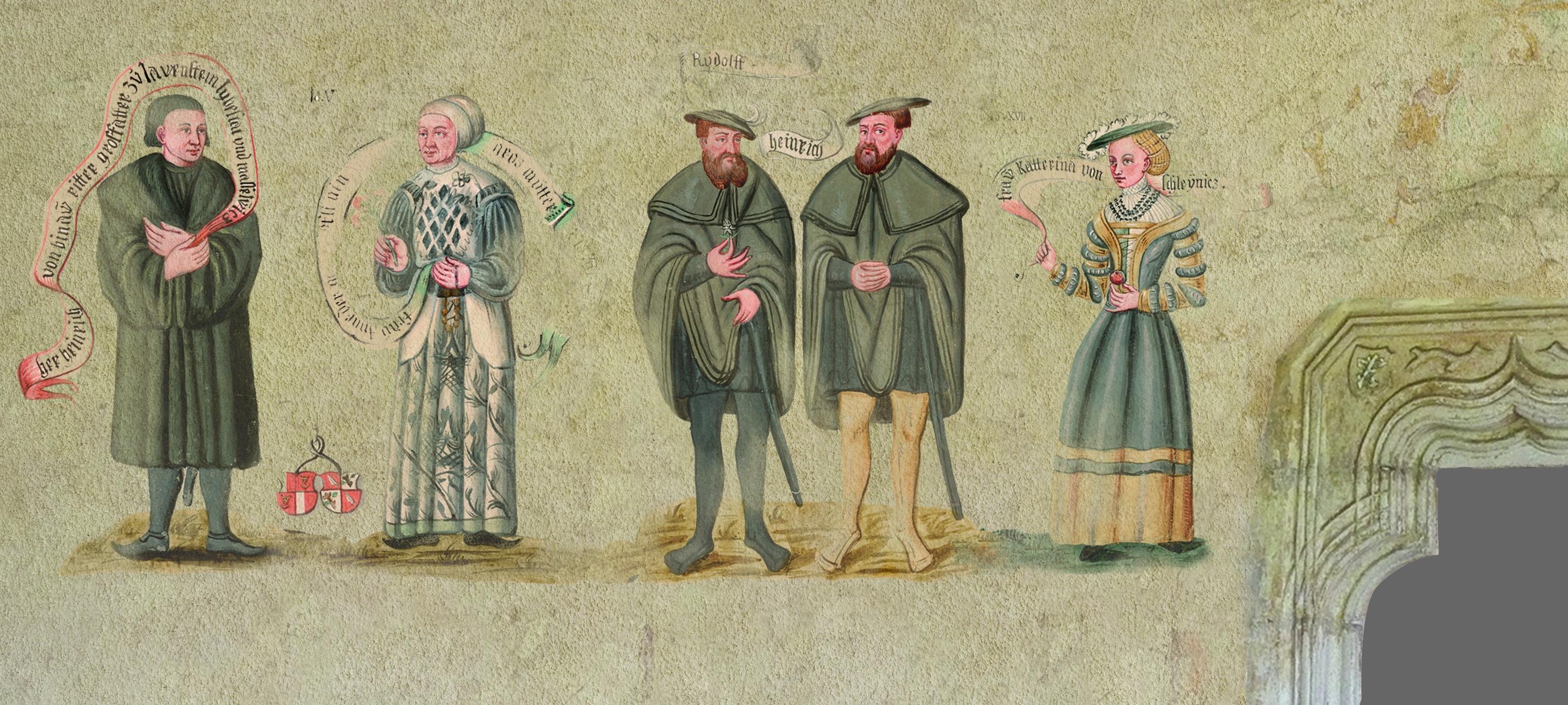 Dobová freska předků rodiny rytířů Bünau