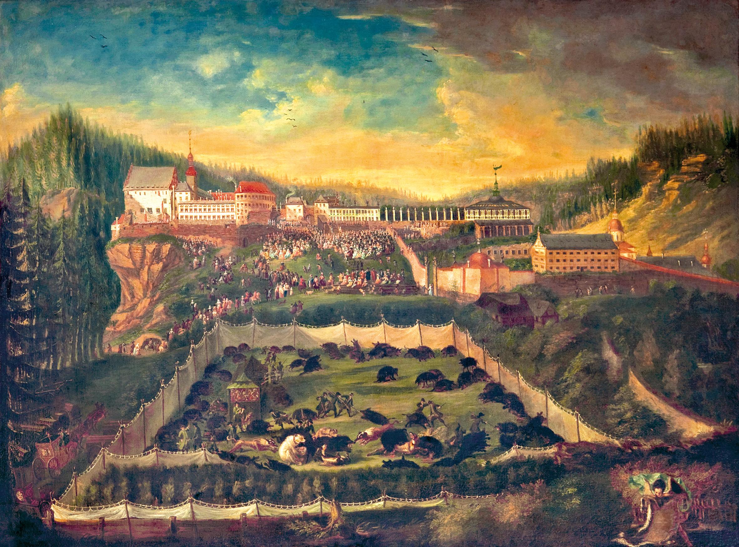 Historický pohled na zámek Děčín v barokní podobě