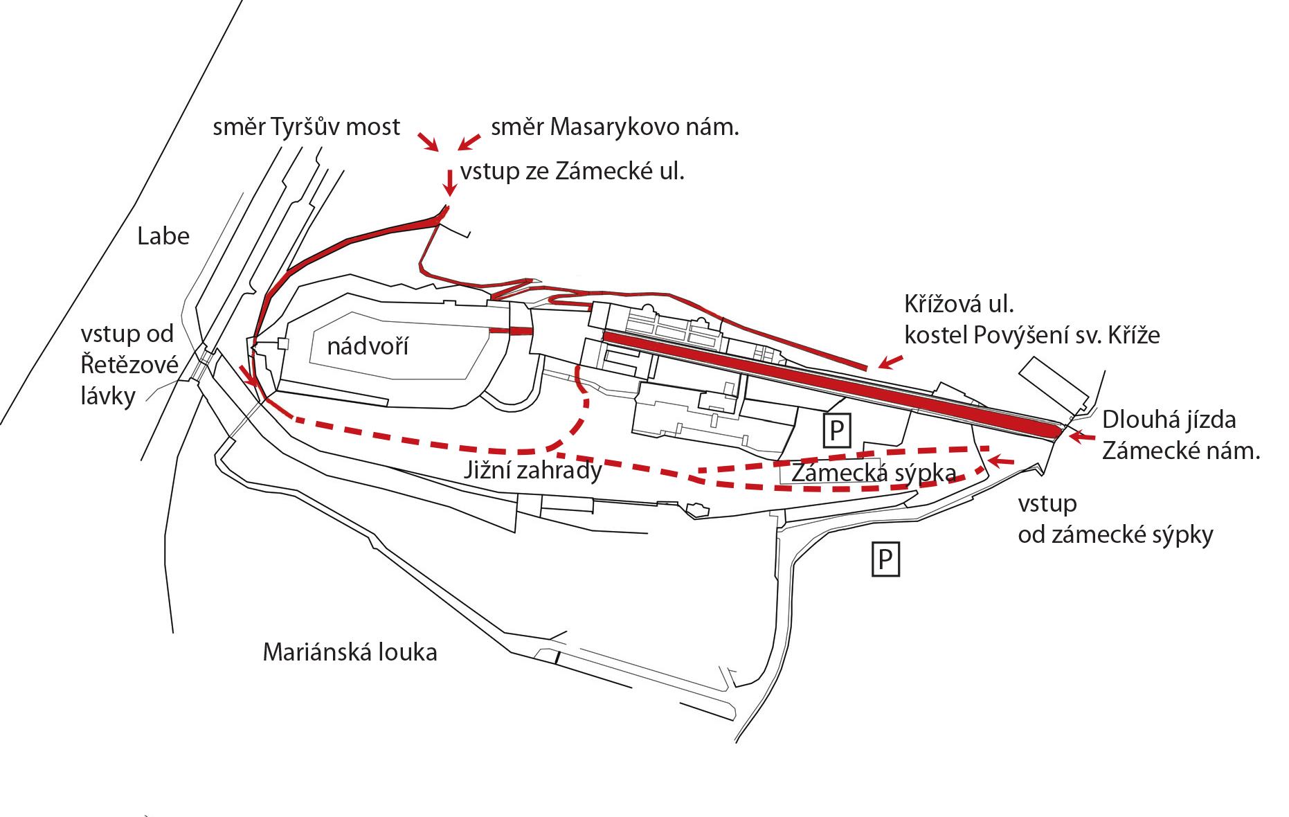 Přístupové cesty ke vstupům na Zámek Děčín